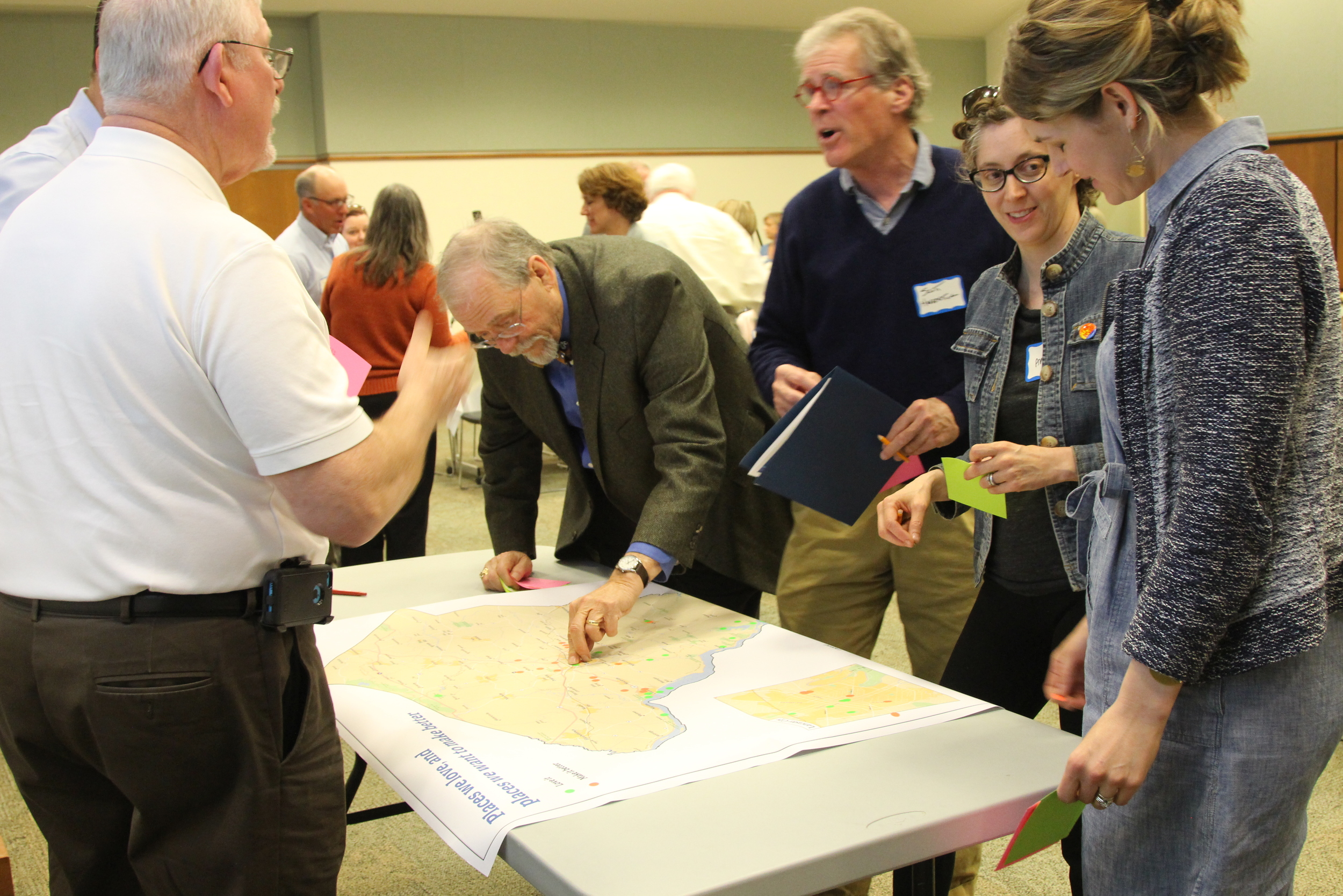 Mayor Lutz of Columbia,Mayor Gray of Lancaster, and other municipal leaders mark places they love and places they want to make better in Lancaster County.