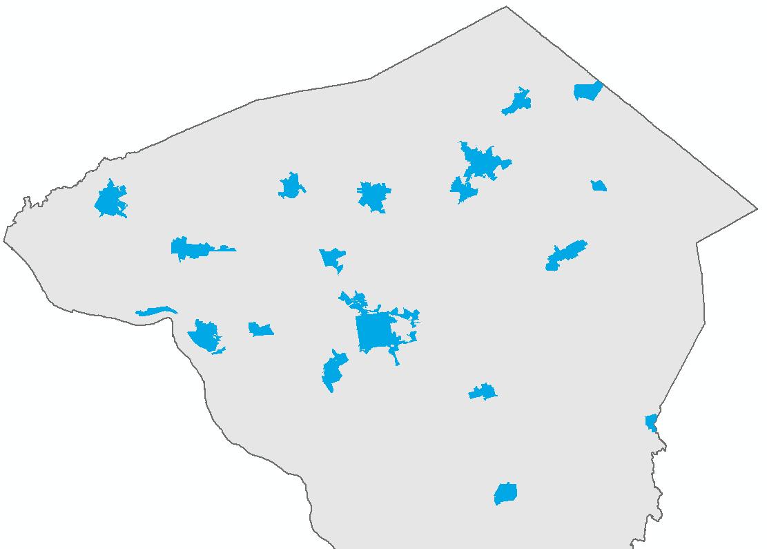 Lancaster County's urban communities - Lancaster City and boroughs.
