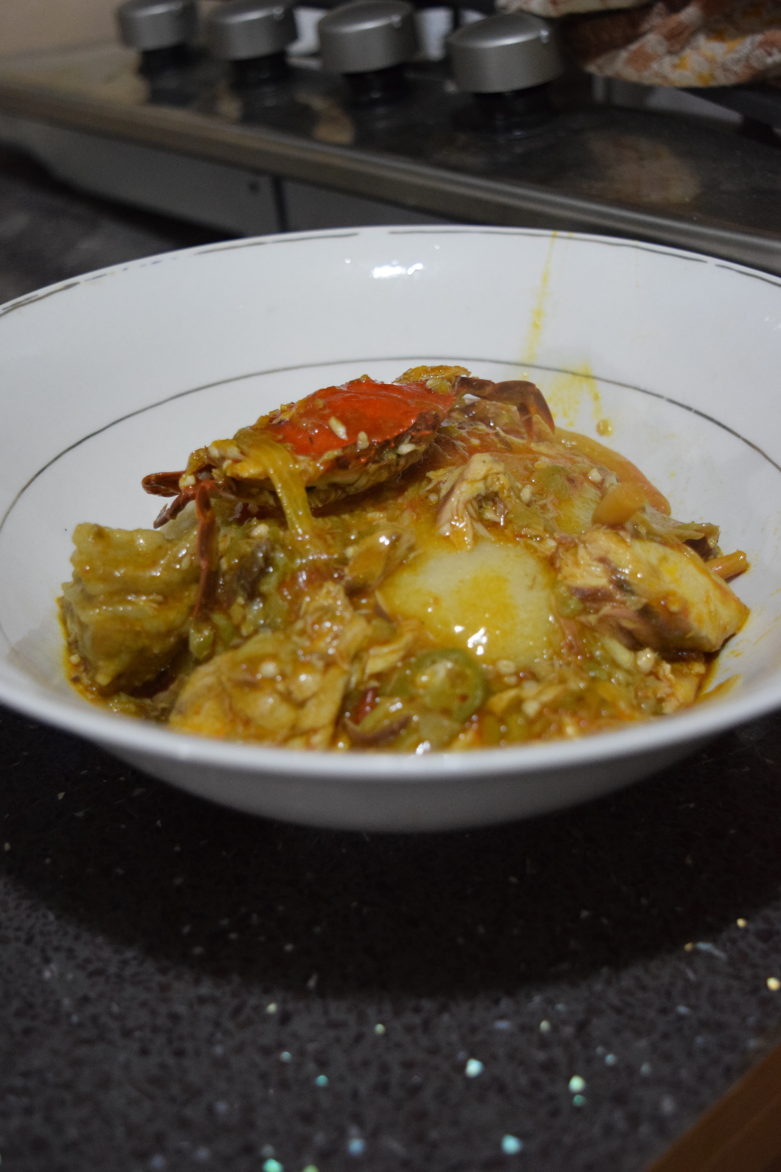 The finished product: banku and okro soup.