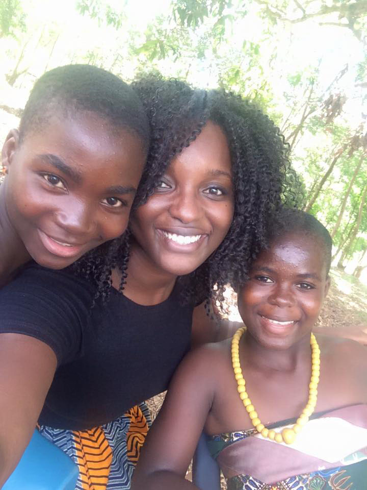 With two of the wonderful young ladies I met. Akpe for spending time with me!