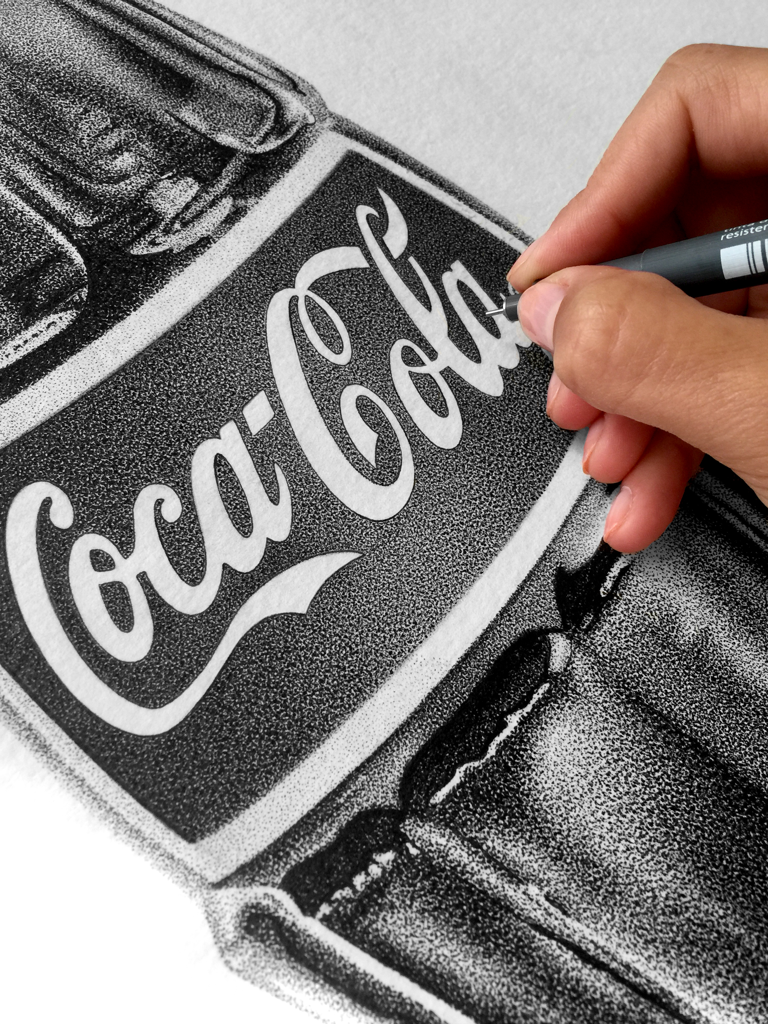 """Lets Have a Coke"", Yelena York, pointillism - pen and Ink on paper, 2015, 35x56cm"