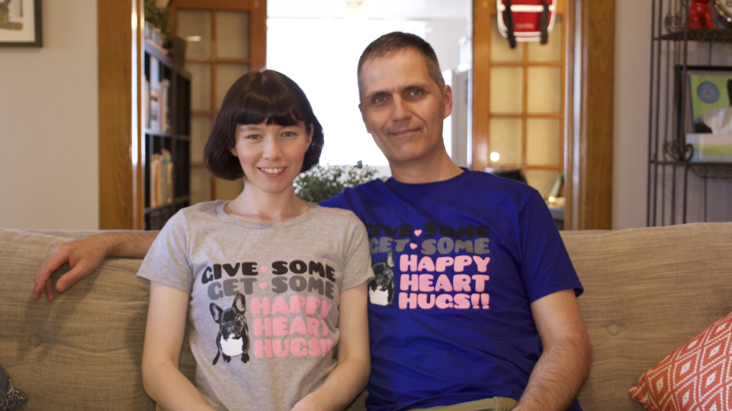 Mum plus Pop in their HappyHeartHugs Charity shirt!!