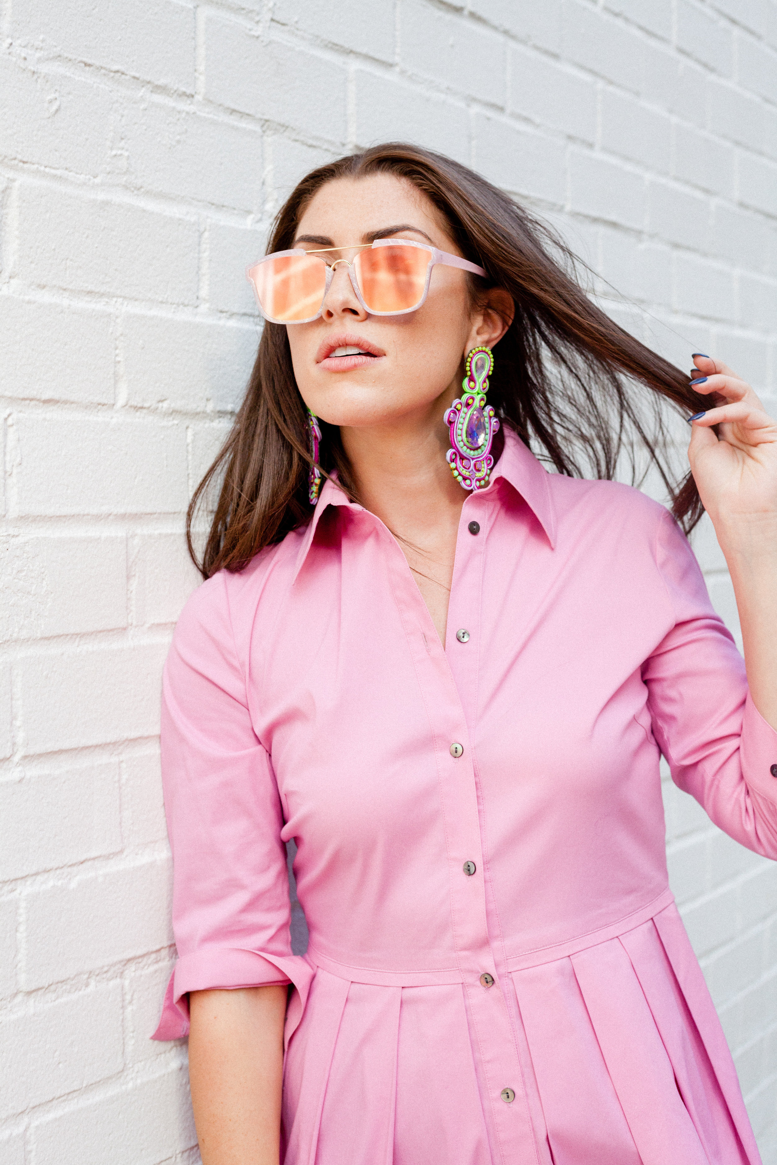 SojoS Square Fashion Women Mirrored Lens Abstract  Sunglasses  SJ2003 With Pink Frame/Pink Lens
