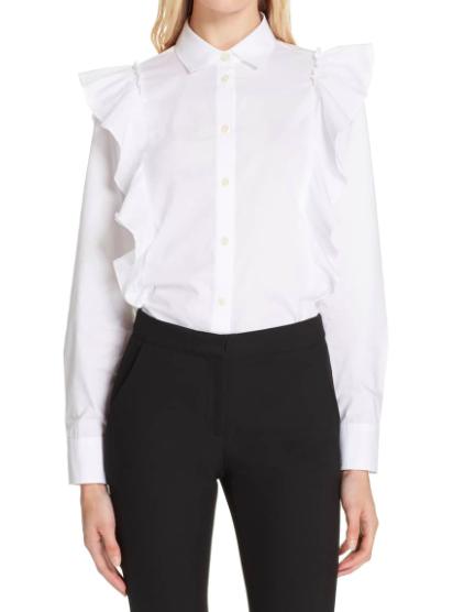 Ruffle poplin shirt   KATE SPADE NEW YORK