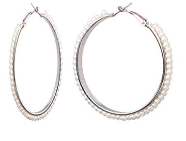 Hoop Earrings Imitation Pearl