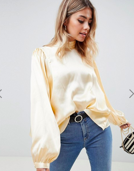 ASOS DESIGN long sleeve satin blouse with high neck and open back