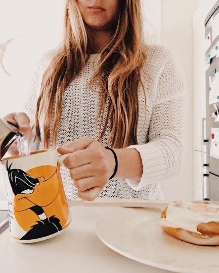5.21 / 9:52  ante meridiem // Most of the mugs here are funny or cute because of the kids. Saturday morning I slept in a little and made myself eggs inside a bagel. Of course I made my morning tea. Tea time is a cozy, meditative time to think and rejuvenate.