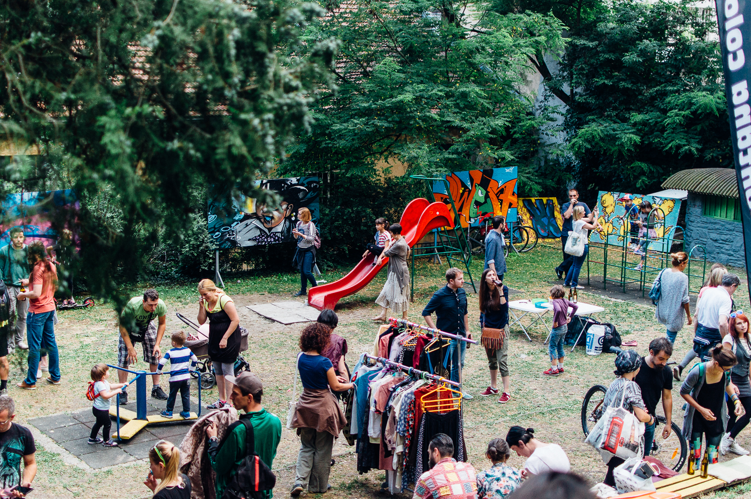 Family fun, vintage clothes, bikes, live music, and beer.