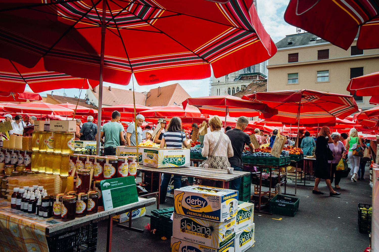 This market has all kinds of different tables from olive oil to local cheese to fruit and meat to herbs.