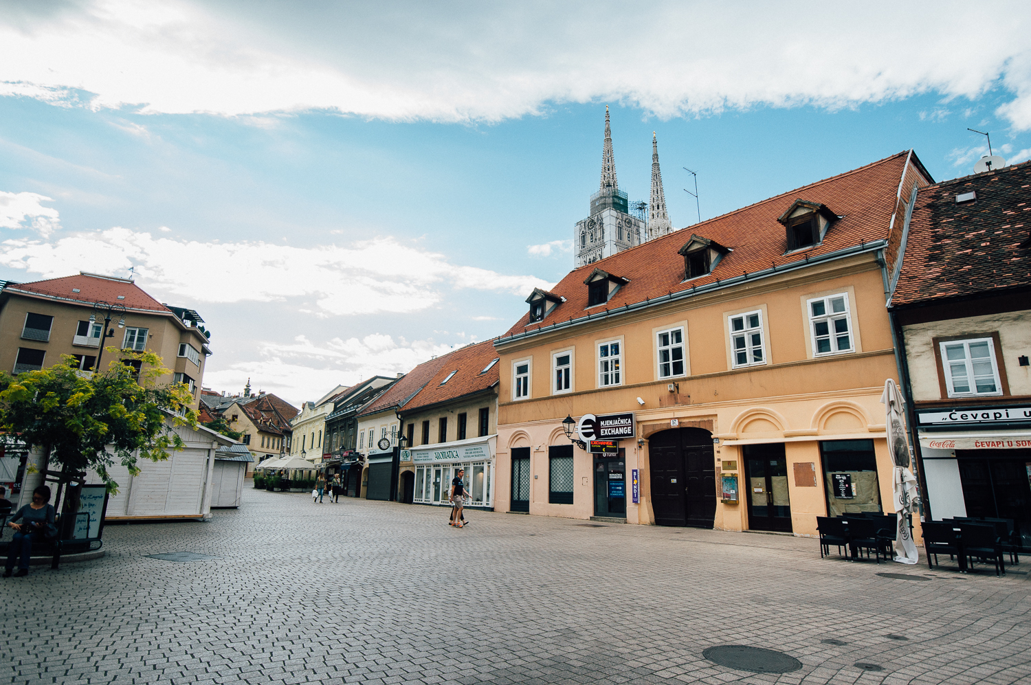 Typical architecture and streets of Zagreb (you can see the tall Cathedral).
