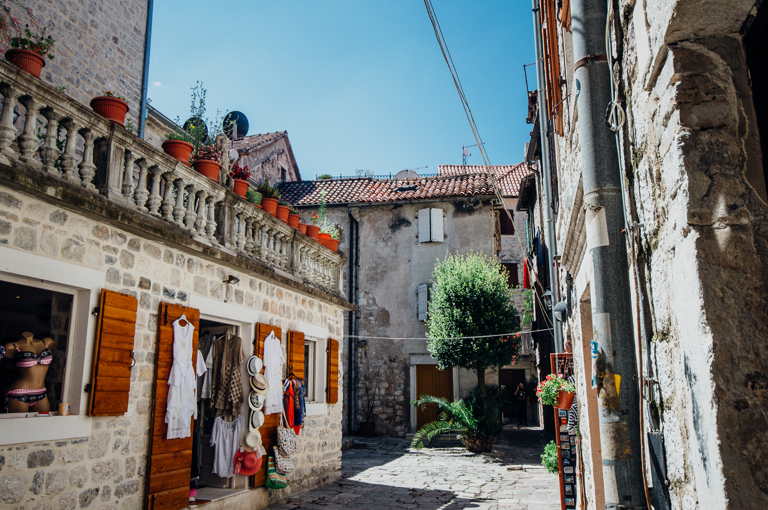 Kotor is a maze of different alleyways, courtyards, houses, and stores.