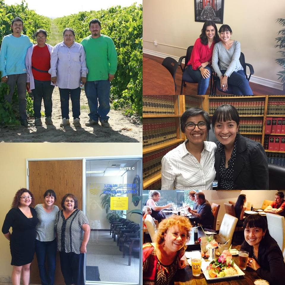 Clockwise from top left: 1) meeting with farmworkers in Lamont, California; 2) with Sahar, one of California Rural Legal Assistance's (CRLA)two Delano attorneys;3) with CRLA's LGBT Director, Lisa 4) with Carla—my host whom I met through a friend of a friend; 5) with Juanita and Pauline, legal support staff for CRLA in Delano