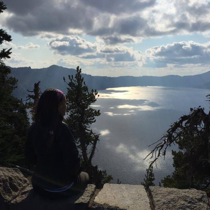 Overlooking Crater Lake on my way north from Delano, California to Portland, Oregon