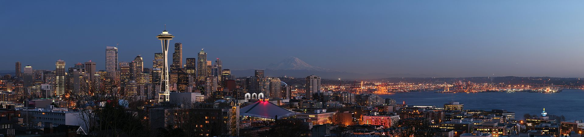 The Seattle skyline with Mount Rainier looming in the background