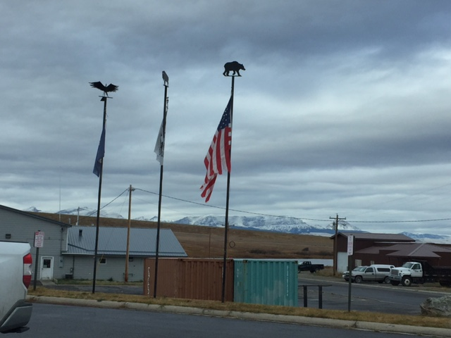 Earlier today at the Blackfeet Indian Reservation—there are 3 flags representing its tripartite governance at the federal, state, and tribal levels.