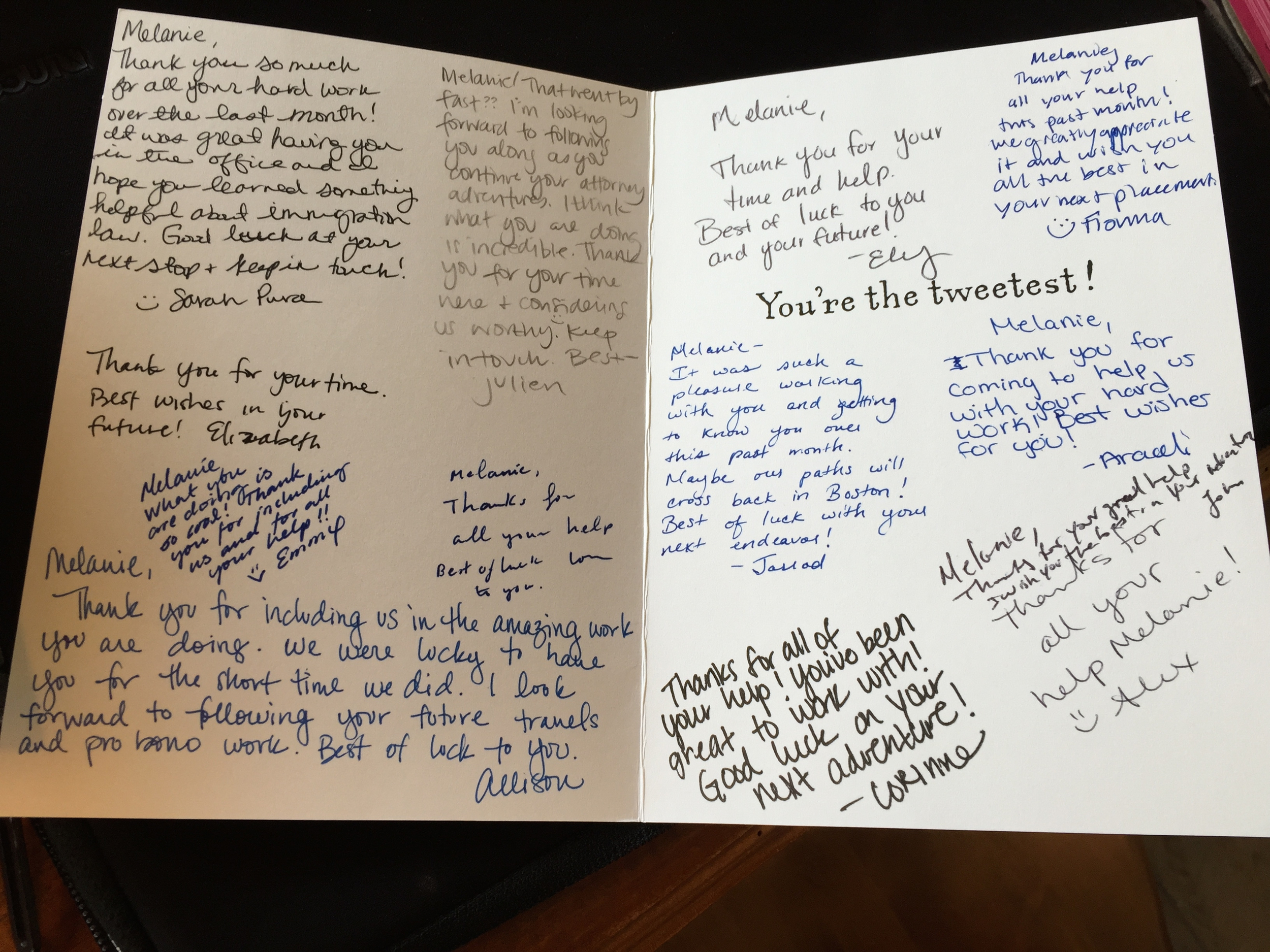 A sweet thank you card from the Immigration Legal Services team in Portland, Oregon