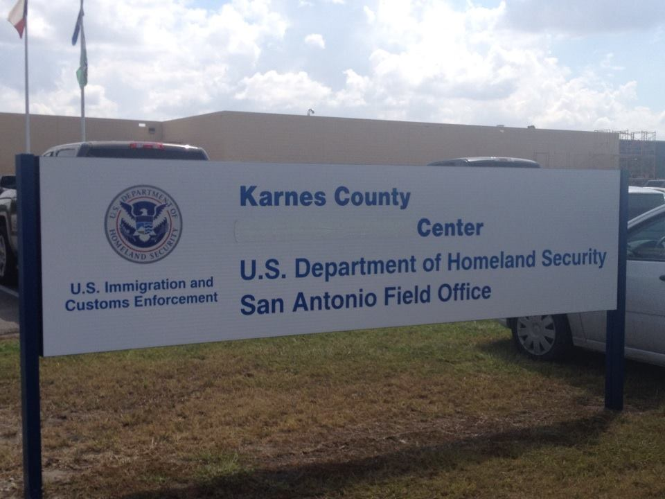 """Outside Karnes Family Detention Center in Karnes City, Texas—the words """"Civil Detention"""" have been covered up."""