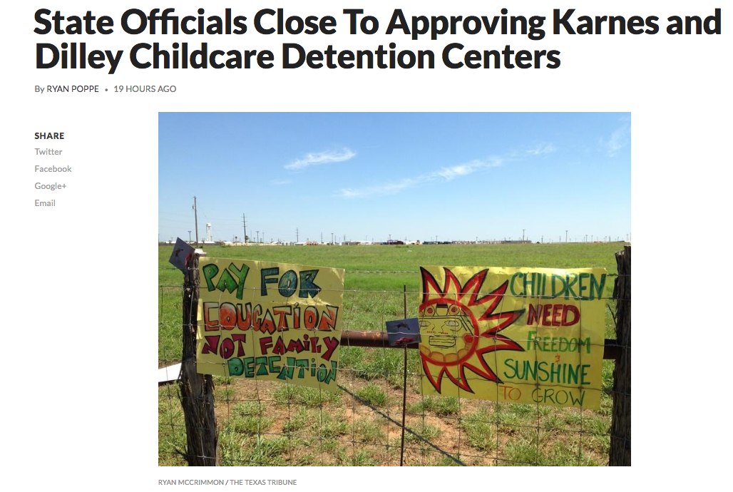 "A story from Texas Public Radio about the imminent ""childcare"" licensing at the Dilley and Karnes City family detention centers"