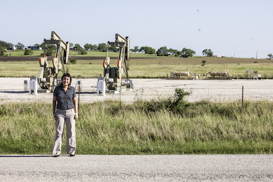 Outside the detention center in Karnes City, Texas—there isn't much around. Except for a lot of oil rigs; there are many of those.