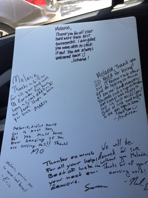 A sweet thank you/goodbye card from my friends at  RAICES