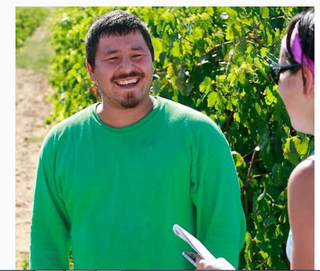 Stop #1 -- California Rural Legal Assistance /Delano, California: Talking in the fields with a farmworker in Lamont, California