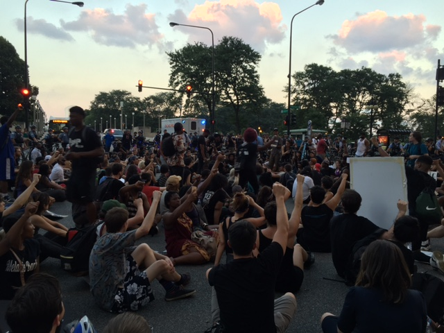 At a Black Lives Matter protest last night in downtown Chicago