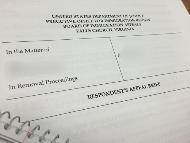 The cover sheet to a 20 page brief I wrote on behalf of a detainee to the Board of Immigration Appeals