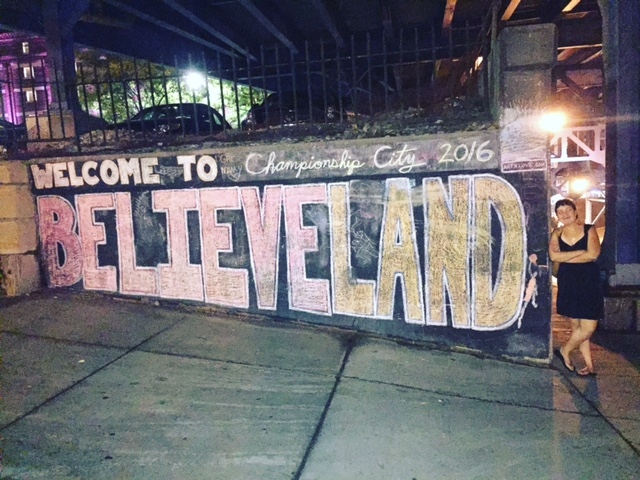 Walking around the Flats district in downtown Cleveland, Ohio