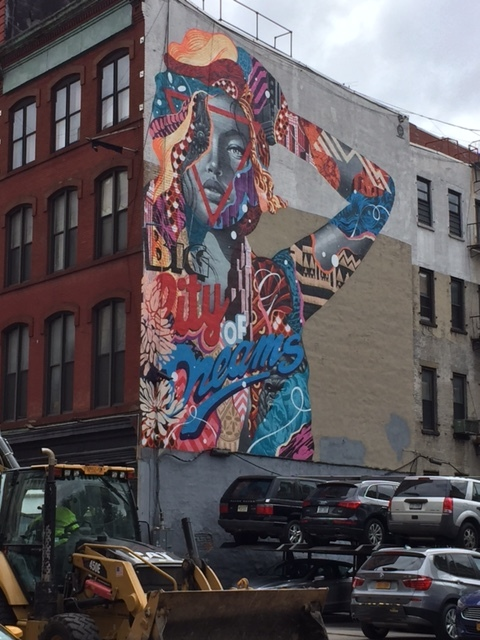 """The """"Big City of Dreams"""" -- one of NYC's many murals -- this one was in Lower Manhattan."""