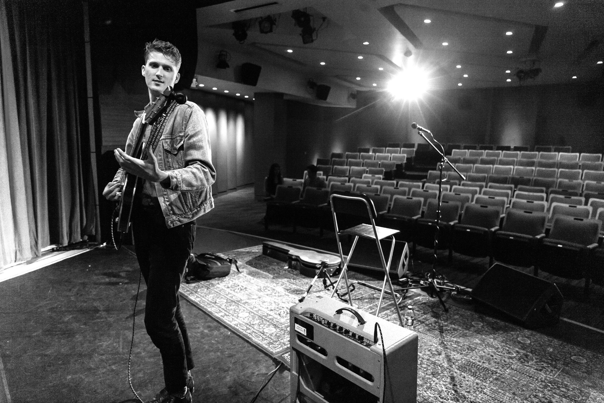 sound checking at the grammy museum in L.A. April 2016.
