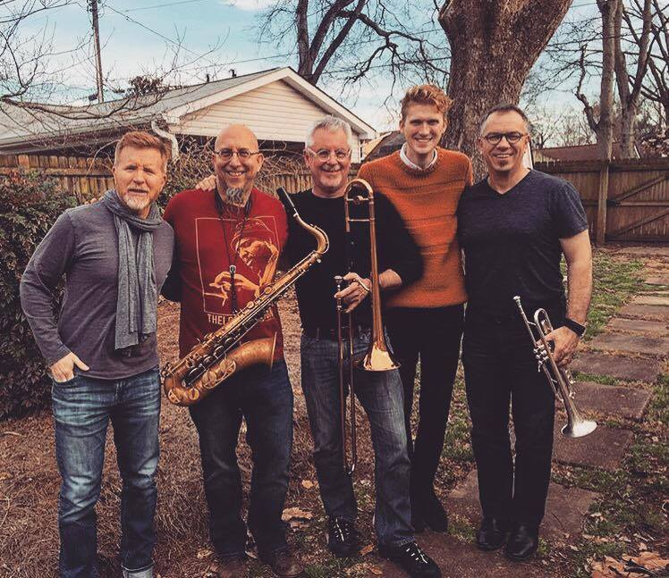 """Producer Matt Rollings & horn section - Jeff Coffin, Barry Green and Mike Haynes - recording """"Brooklyn"""". February 2016."""