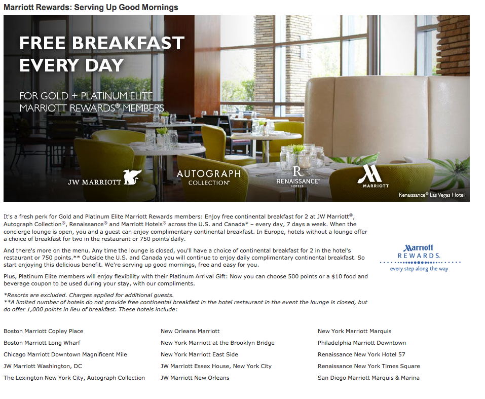 The Ritz Carlton Rewards card grants Gold Elite status, and therefore, free breakfast every day!