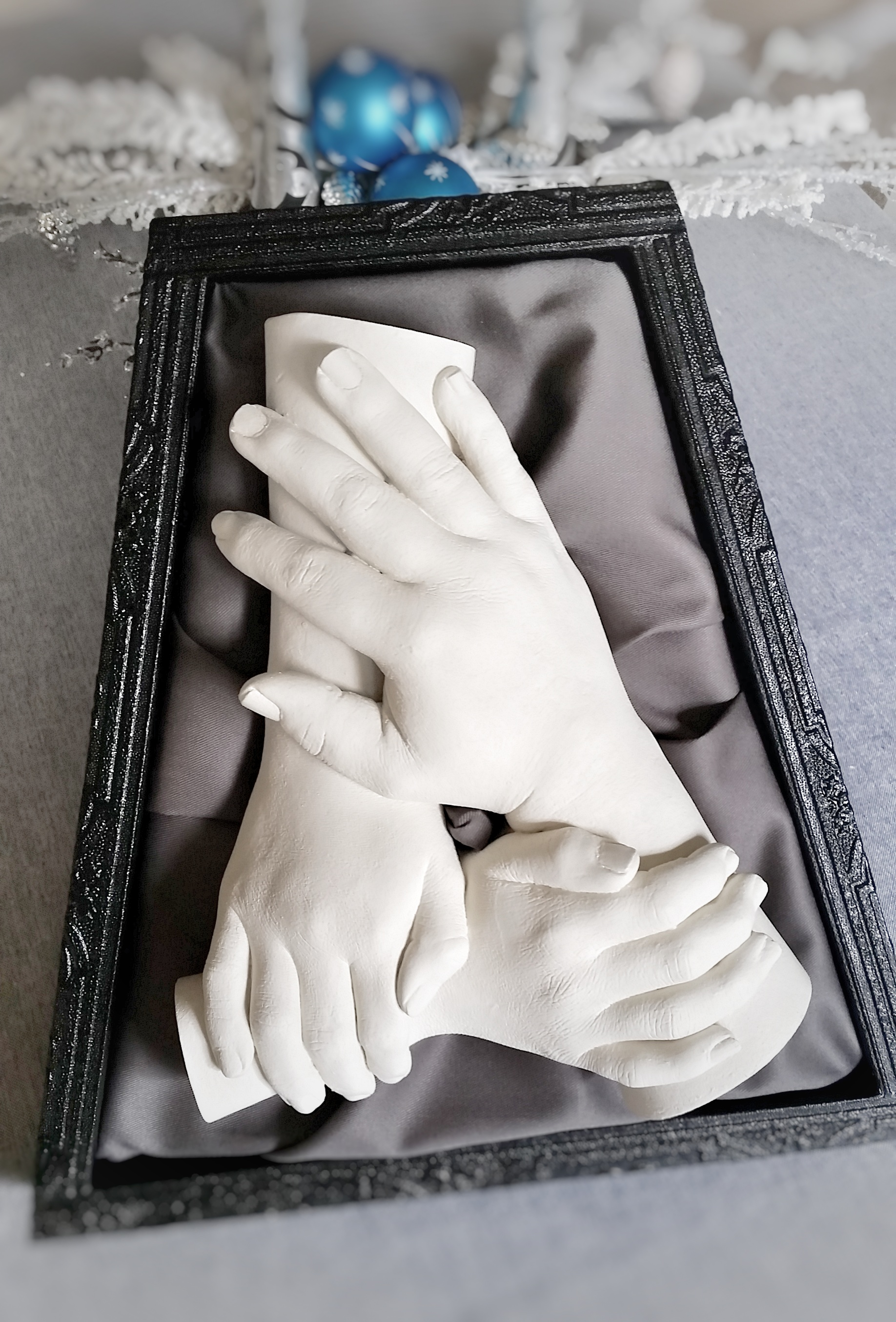 $75-- Leaning Shadow Box, for Tabletop, for Three Hands (White or Black)