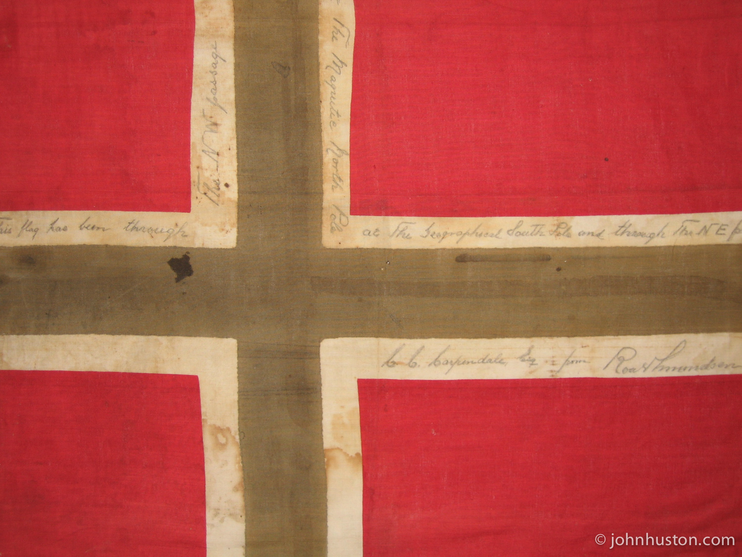 Roald Amundsen 's official expedition flag from the  Northwest Passage ,  South Pole , &  Northeast Passage  expeditions. Holding this flag was an incredible moment.