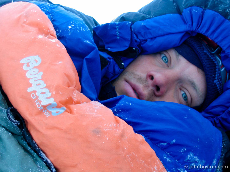 John in his  Bergans  sleeping bag.