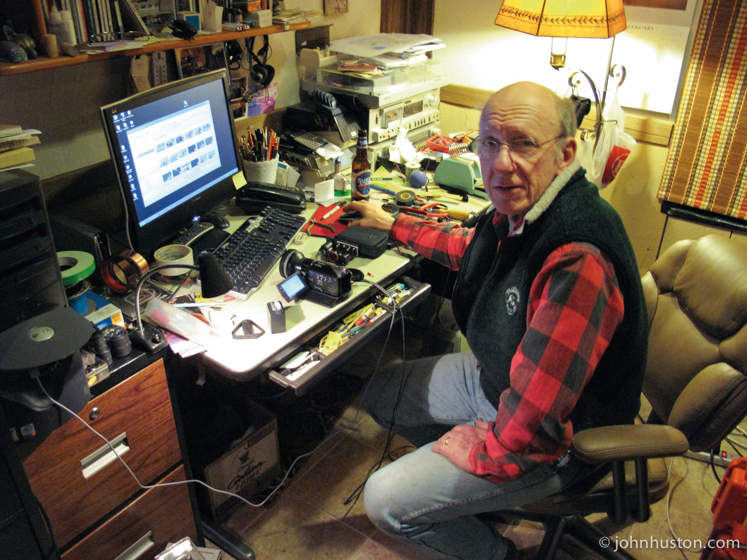 Tyler's dad, Steve, working on expedition electronics.