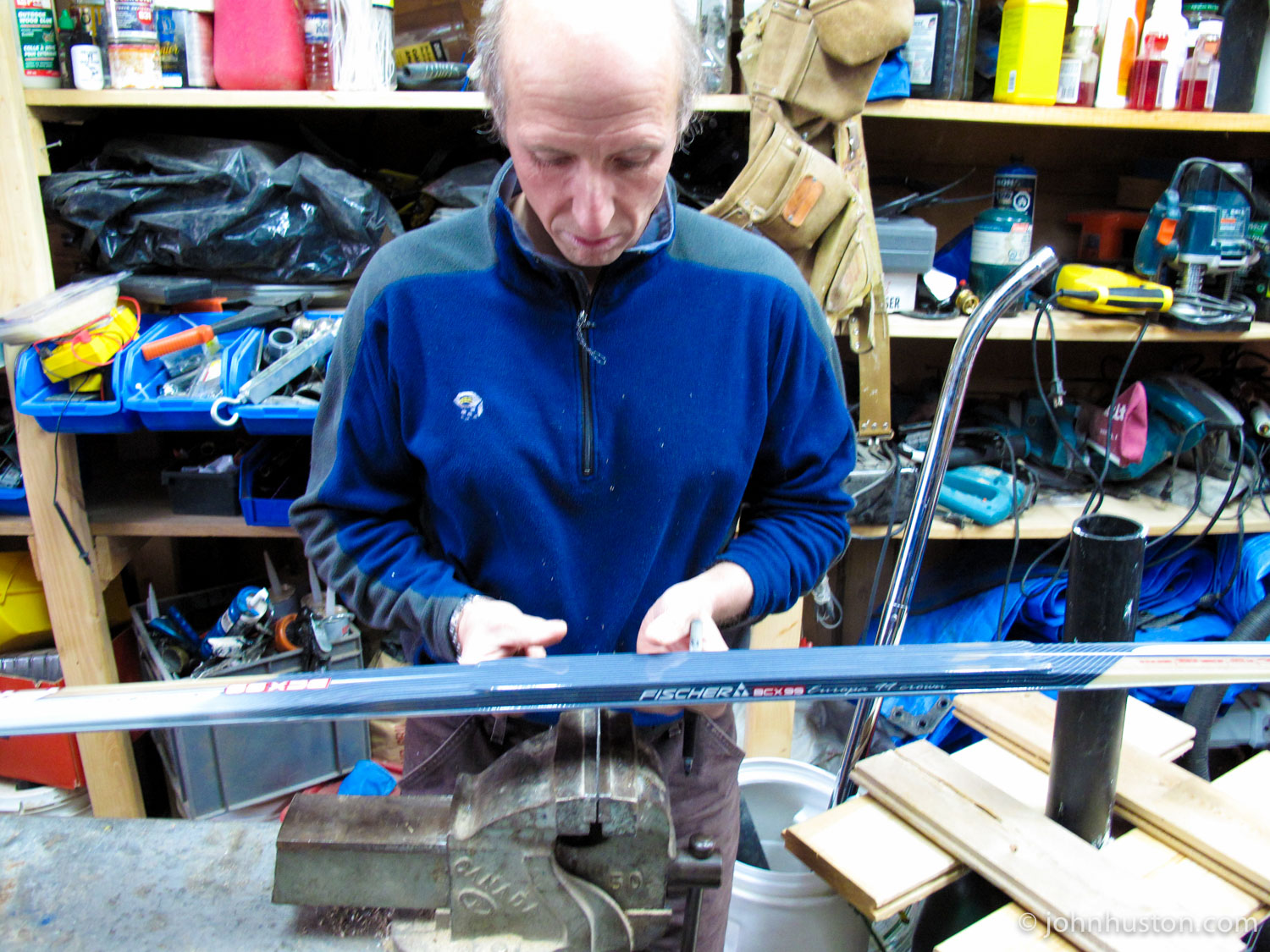 North Pole veteran and recent South Pole ski record setter Richard Weber, works with our skis.
