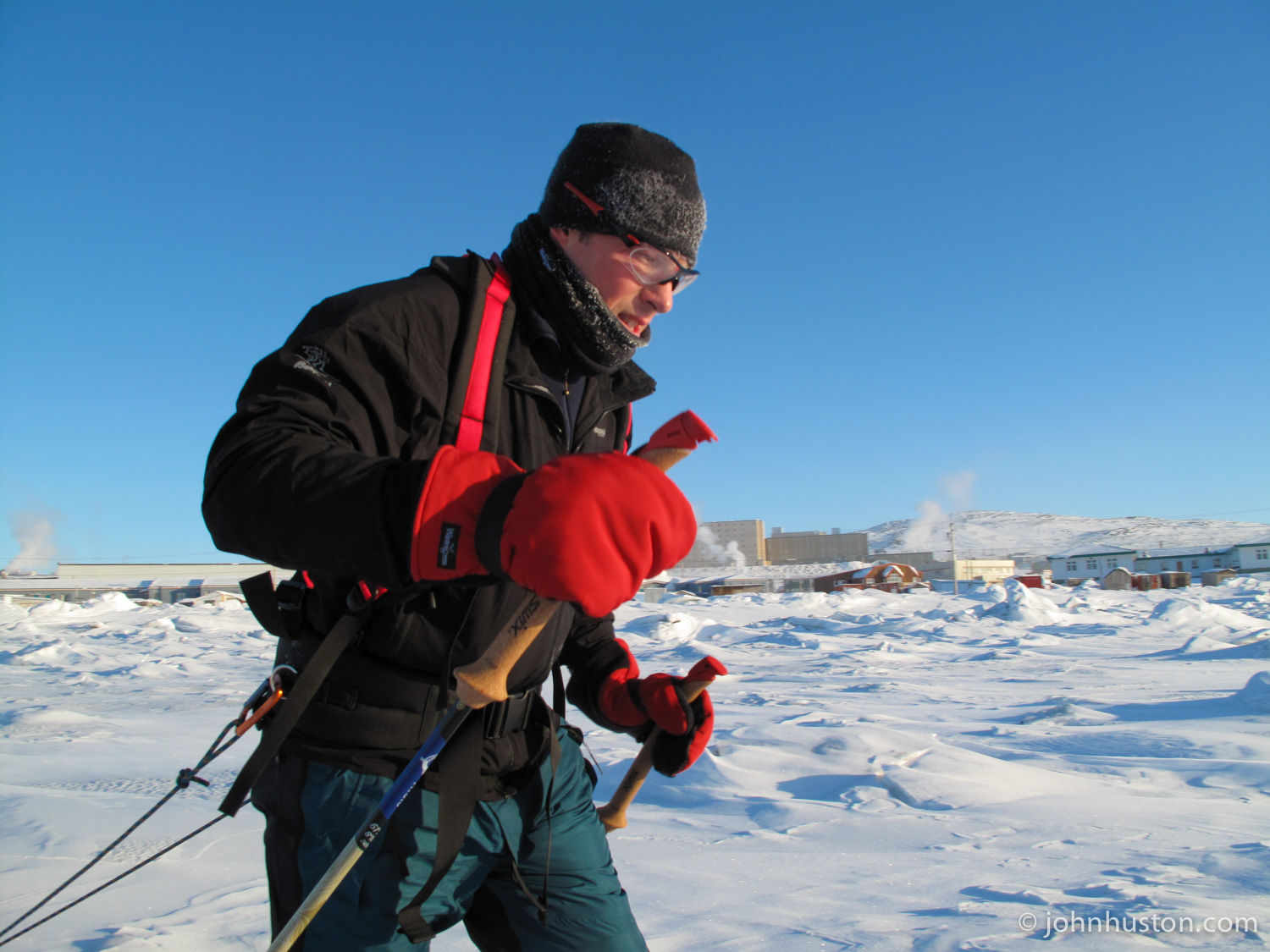 Tyler, with Iqaluit in the background.