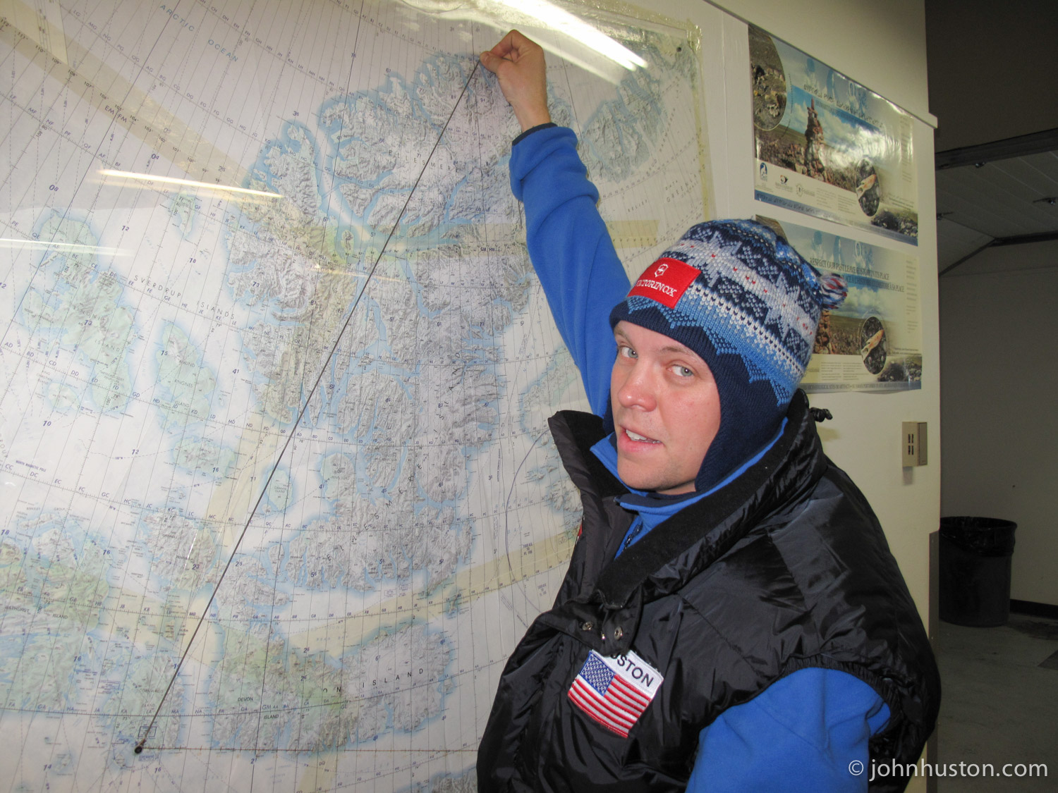 John pointing out the route for their flight from Resolute to Ward Hunt Island on March 2nd.