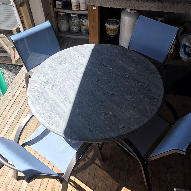 "Anyone looking for an affordable dining set? Telescope Casual 48"" werzalit dining table and 4 stacking chairs. $929 what a deal!!!! Its going in storage but the deal is there! I need room on my floor!"