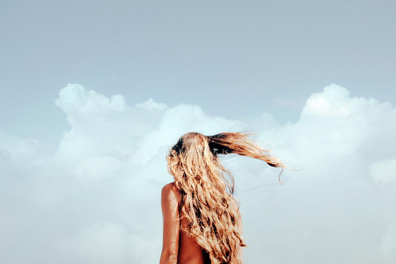 Girl's hair on a summer day