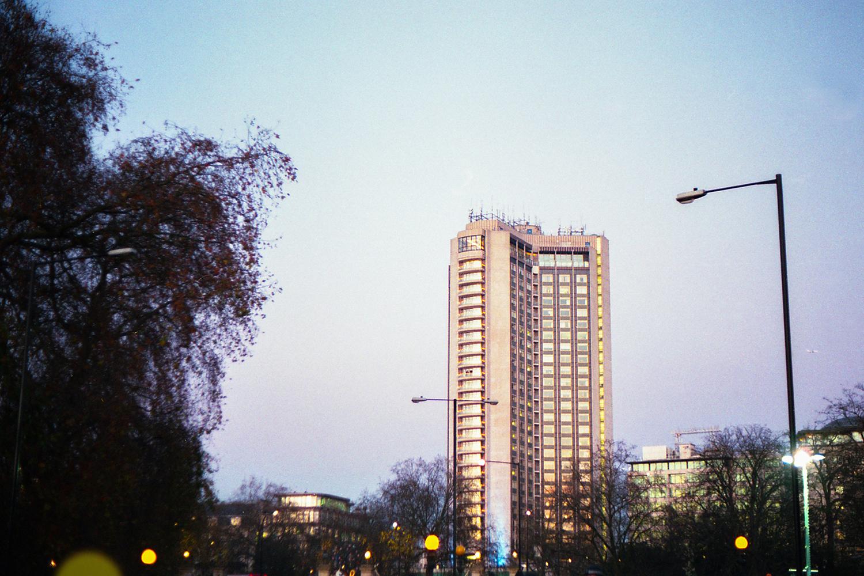 London skyscraper at sunset