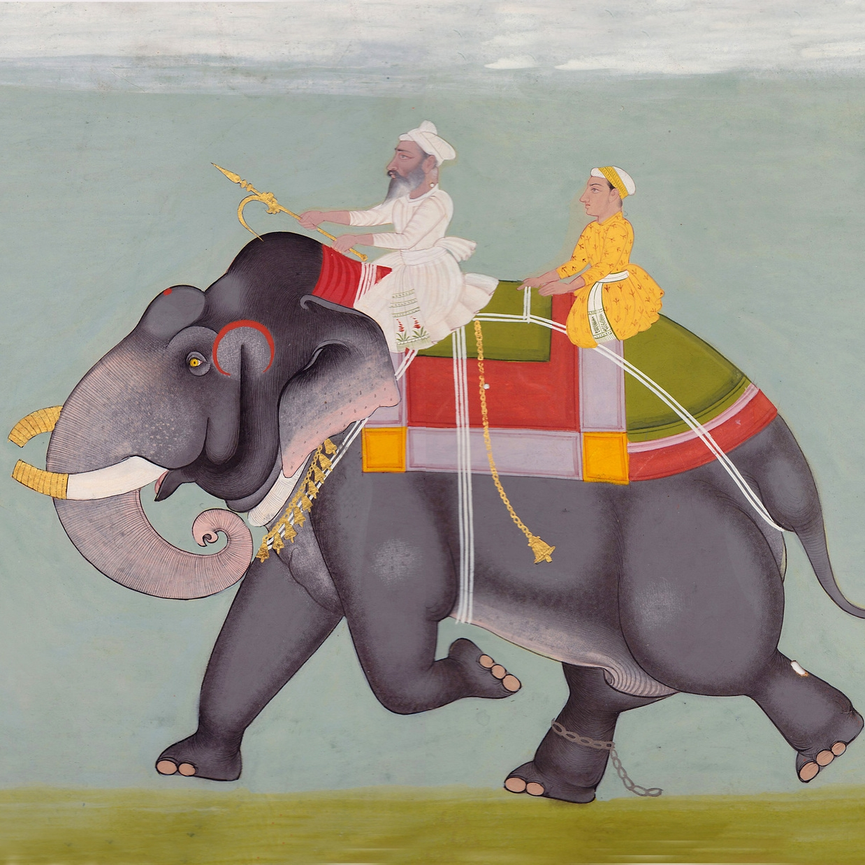 Portrait of a an elephant with a mahout and young boy with two attendants bearing a flag (detail)