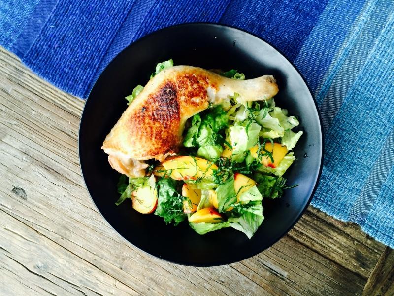 Roasted Chicken Legs, Peach Summer Herb Salad © Chef Jöne Pan