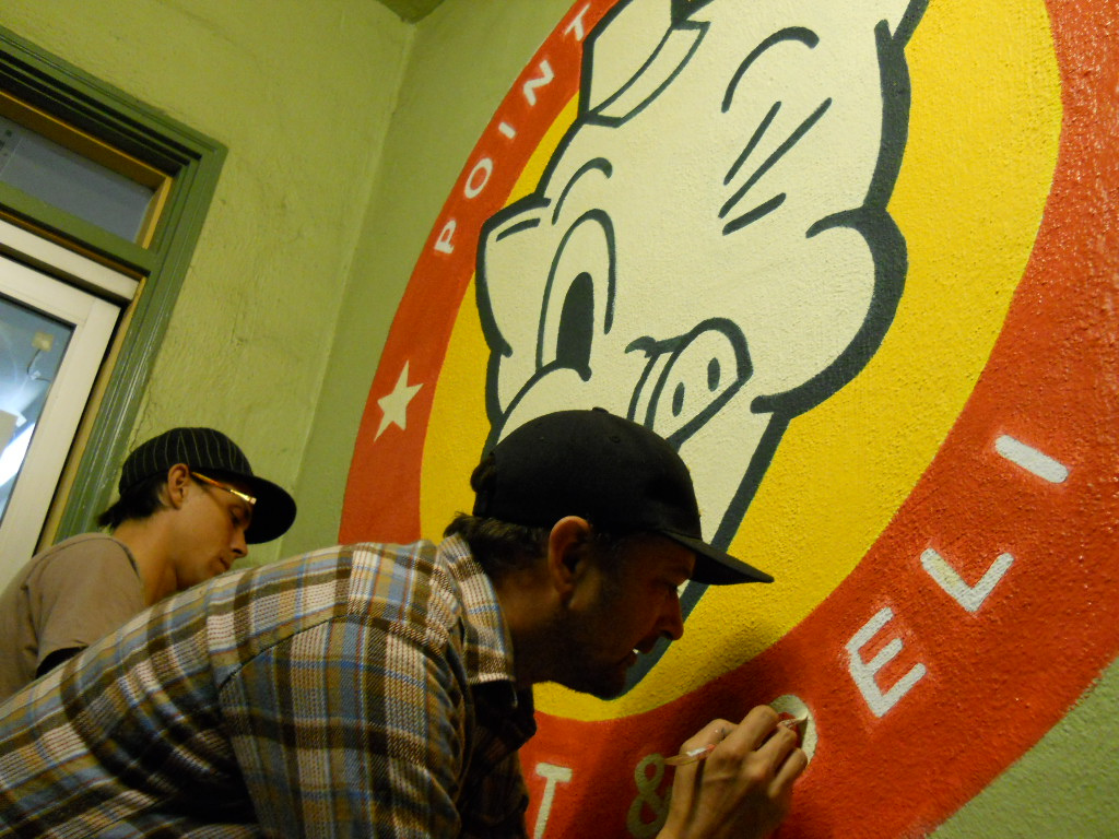 Shawn & I painting the Point Richmond Deli signs.