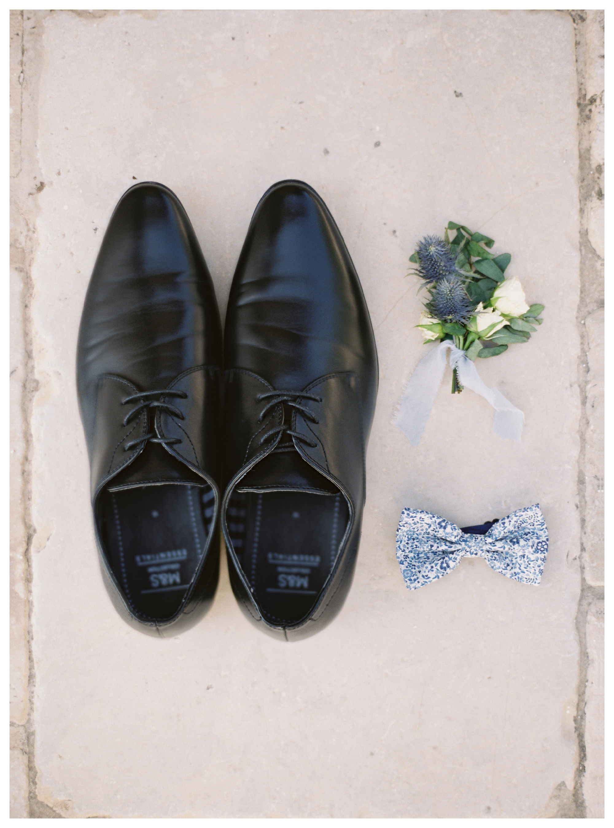 groom shoes, bowtie, boutonniere