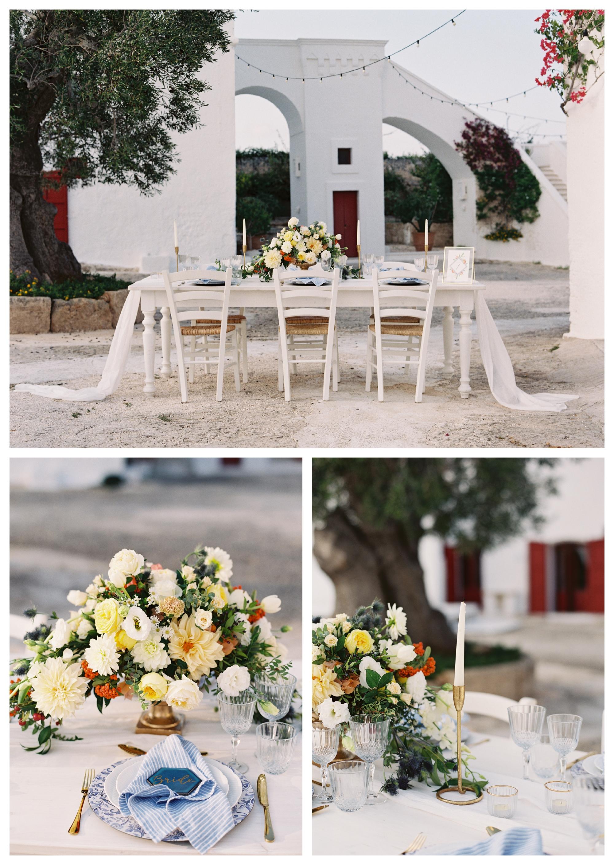 italy wedding, wedding table, destination wedding puglia, al fresco wedding, outdoor wedding, wedding centerpiece, yellow flowers, summer wedding,