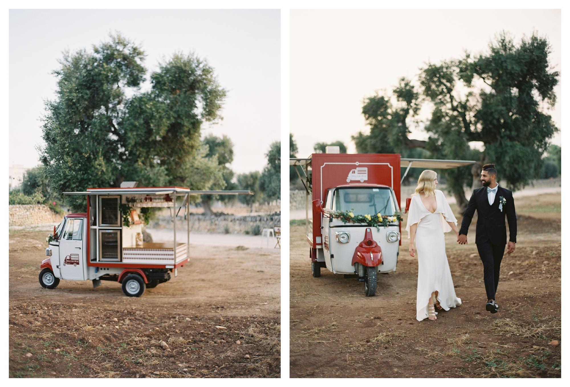bride and groom, alexandra grecco dress, wine cart, ape car, wedding cocktail hour, masseria torre coccaro wedding