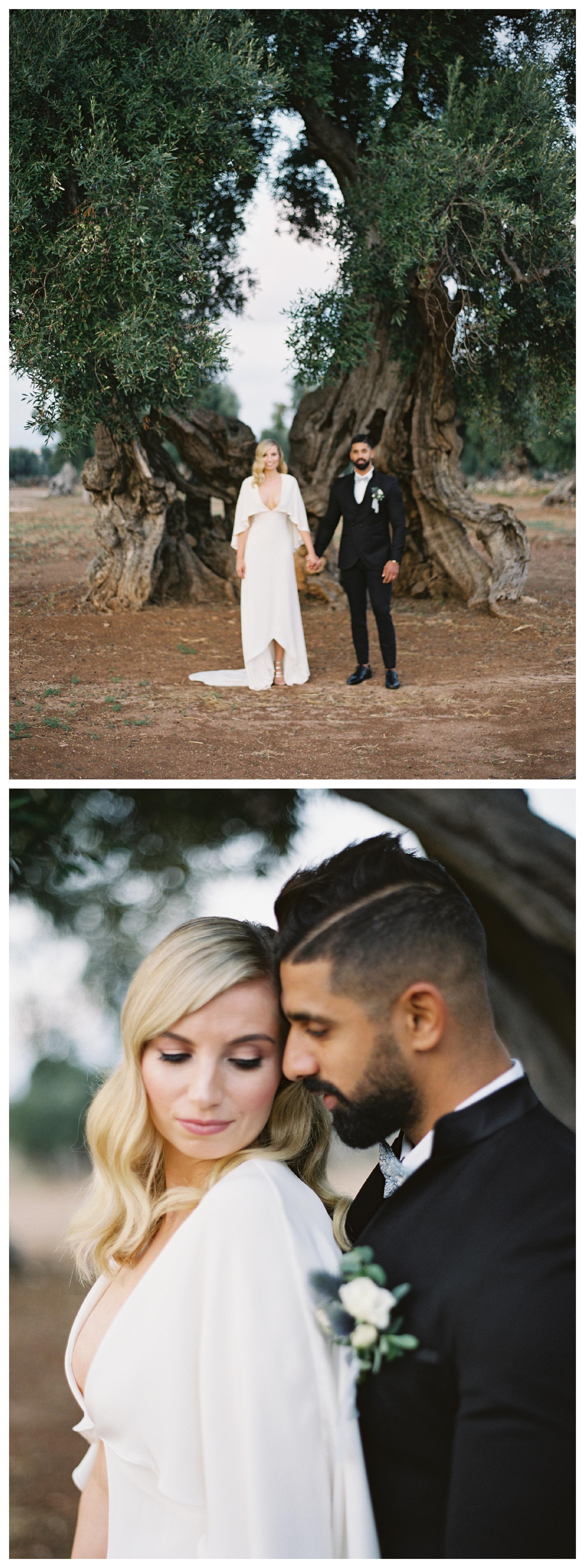 bride and groom portrait, puglia wedding, olive trees groove, masseria wedding