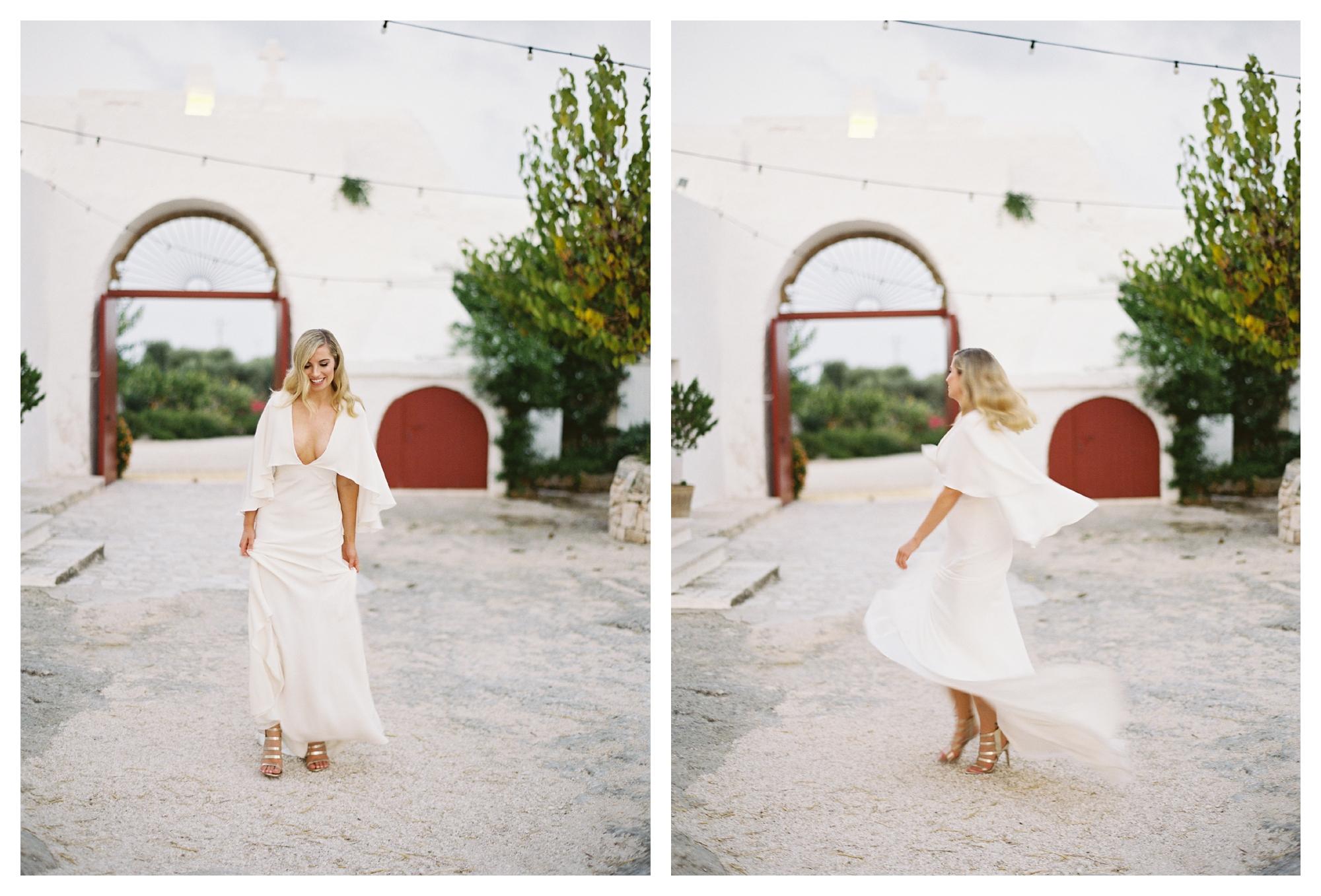 bride wearing alexandra grecco dress, destination wedding puglia, italy wedding, masseria wedding, masseria torre coccaro wedding